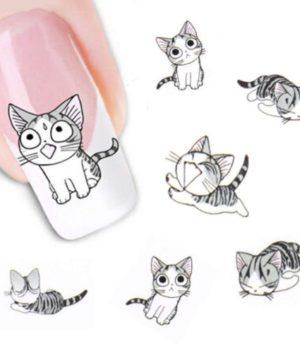 Grey Cat Nail Art