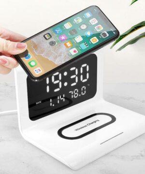 Phone Charging Station With Digital Alarm Clock